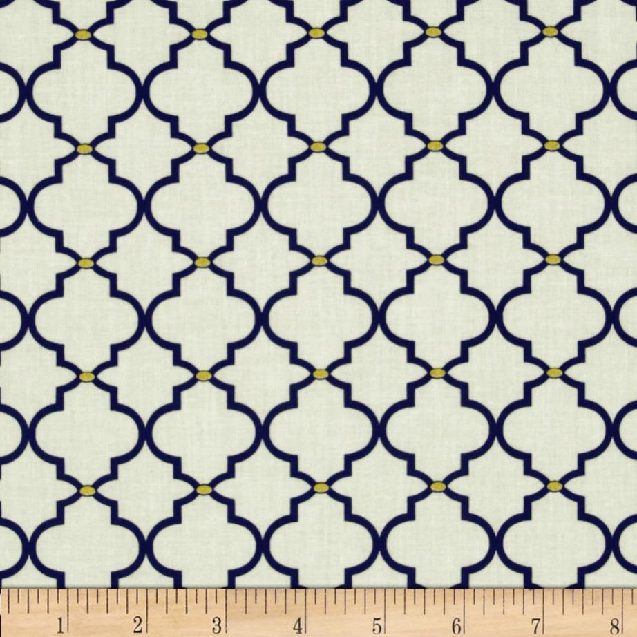 In the Navy Metallic Ogee Tile White/Navy