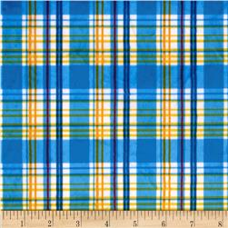 Minky Candy Plaid Blue/Yellow Fabric