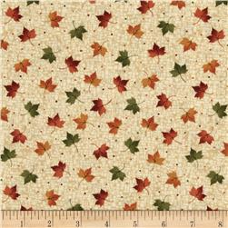 Harvest Song Leaf Dot Natural Fabric