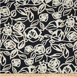 Crepe de Chine Floral Black/Cream/Khaki