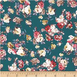 Cotton Lawn Flowers Gold/Brown/Teal