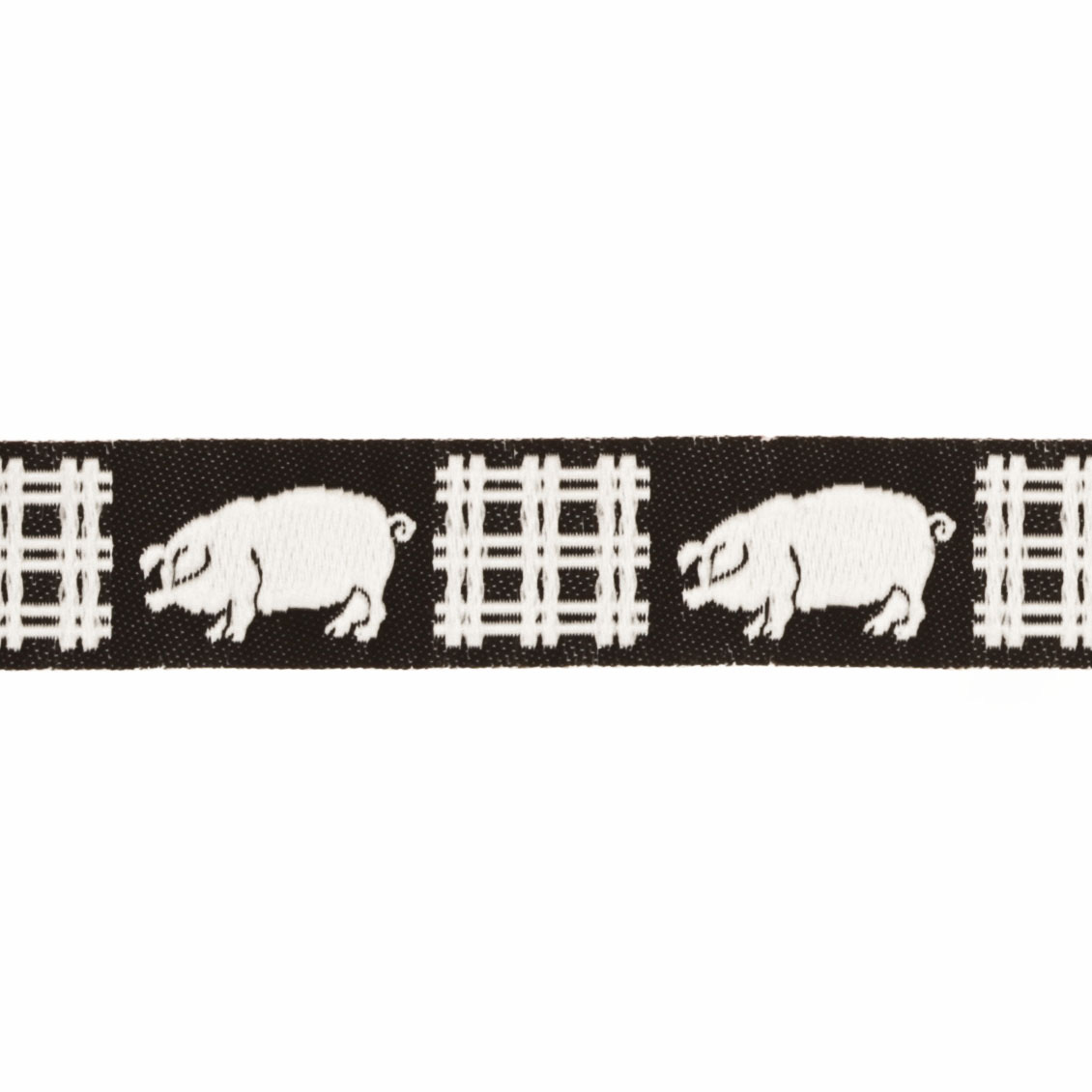 5/8'' Ribbon Pigs Black/White Fabric