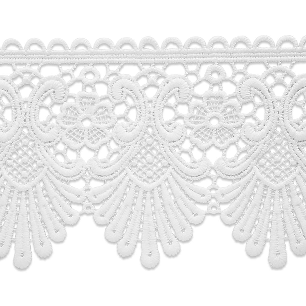Guide to Victorian Civil War Costumes on a Budget Swirl  Flower Lace Trim White Precut 10 Yard $48.72 AT vintagedancer.com