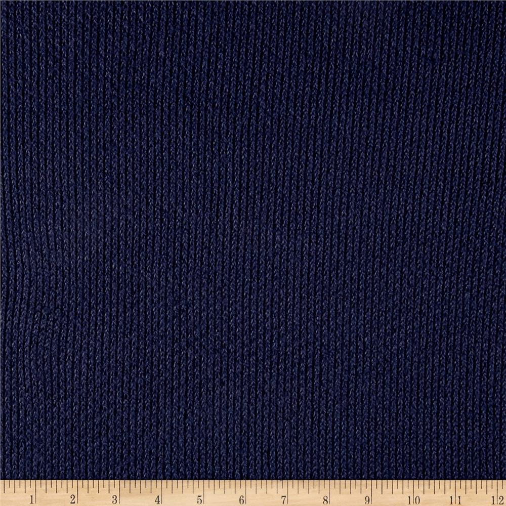 Fisherman Sweater Knit Solid Navy