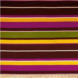 Rayon Jersey Knit Stripes Brown/Magenta