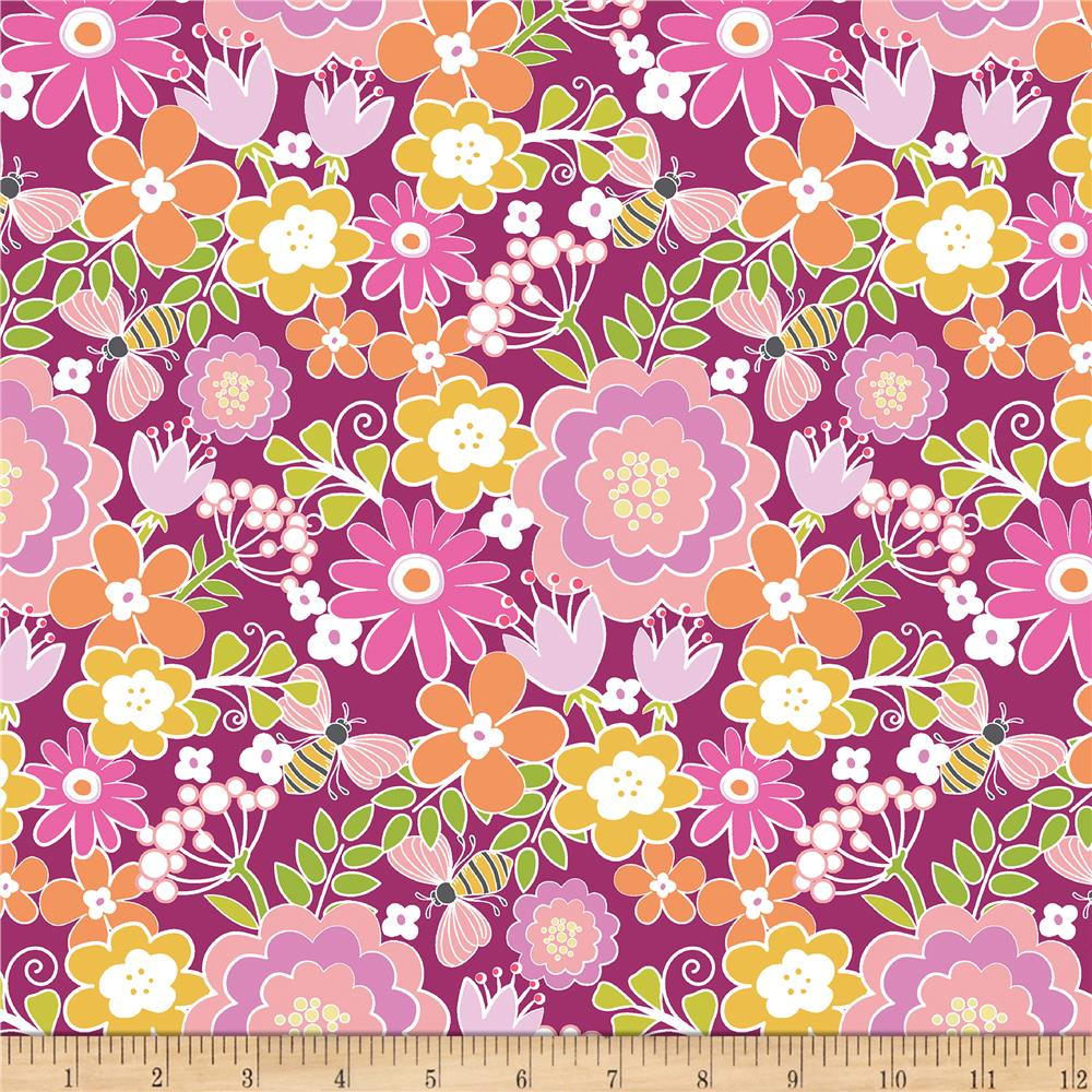 Contempo Front Porch Summer Floral Pink Discount Designer Fabric