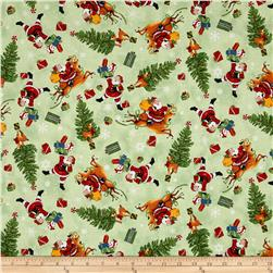Retro Santa Tossed Christmas Icons Light Olive