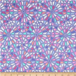 Geometric Silk Chiffon Blue/Purple/Pink