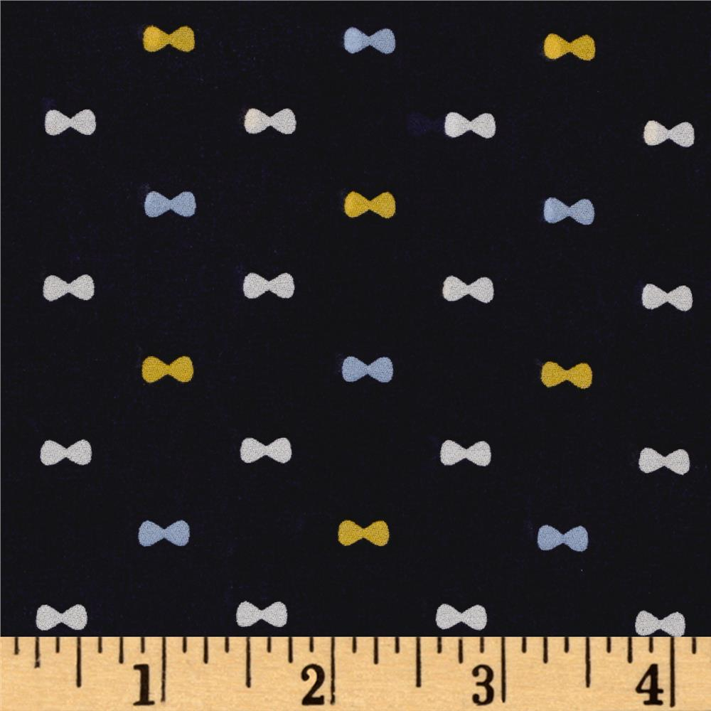 Polyester Prints Crepe Georgette Bows Navy