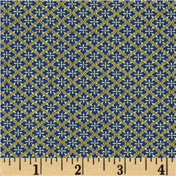 Timeless Treasures Imperial Garden Metallic Diamond Geo Blue