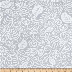 Moonflower Scrolled Leaf Grey