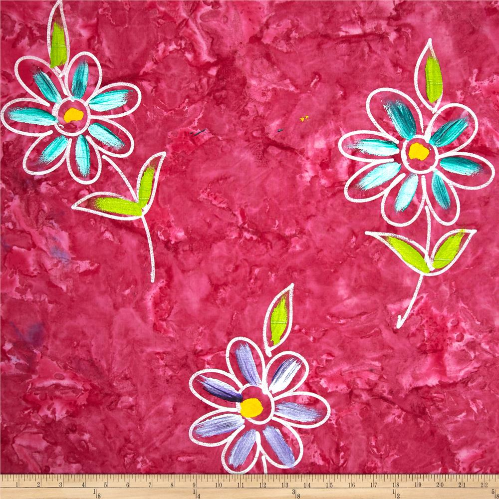 Indian Batik Hand Painted Floral Pink