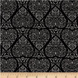 Moda Ever After Heart Damask Beautiful Black
