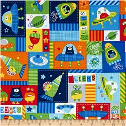 Spaced Out All Over Patchwork Space Aliens Multi