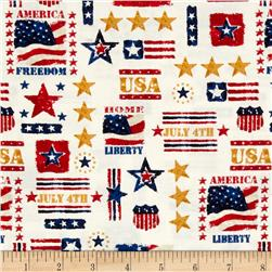 Patriotic Celebration July 4th Cream Multi