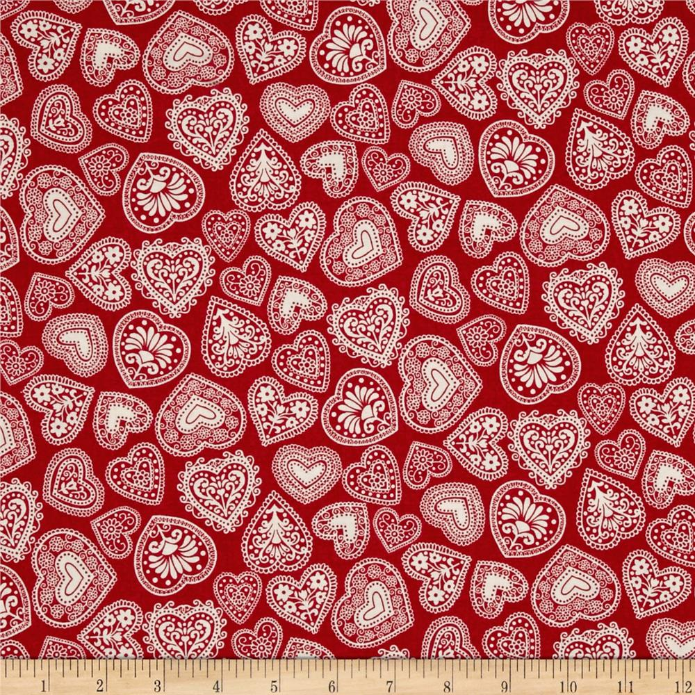 Scandi 3 Hearts Red