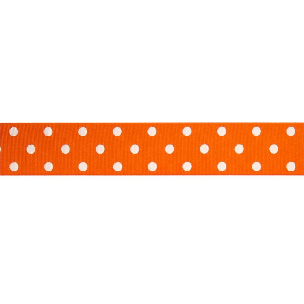 "1 1/2"" Grosgrain Polka Dot Ribbon Orange"