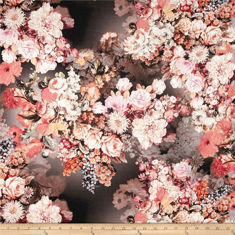 Telio Digital Printed Linen Floral Brown/Coral Fabric