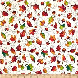Autumn Breeze Leaf Swirl White