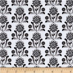 Ink Blossom Floral Damask White Fabric