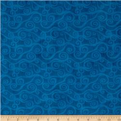 "108"" Wide Quilt Back Swirly Scroll Blue"