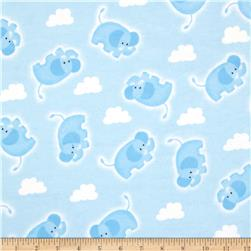 Flannel Tossed Elephant & Cloud Blue