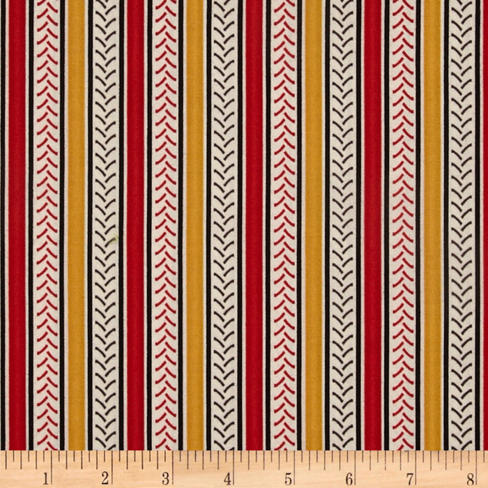 International Harvester Big Red Stripe Red/Gold Fabric