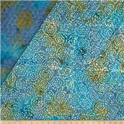 Double Face Quilted Indian Batik Abstract Floral Aqua