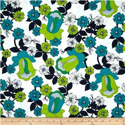 Auntie's Attic Floral Bloom Canvas Green