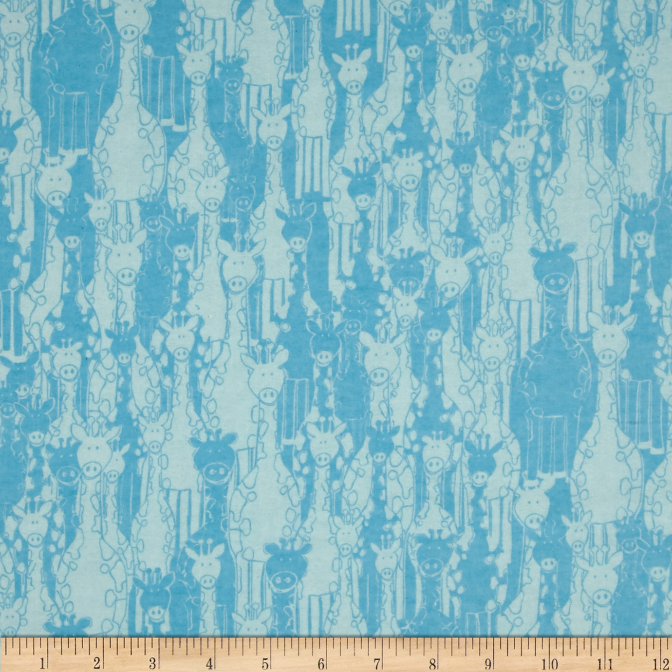 Flannel Giraffe Turquoise Fabric by Fabri-Quilt in USA