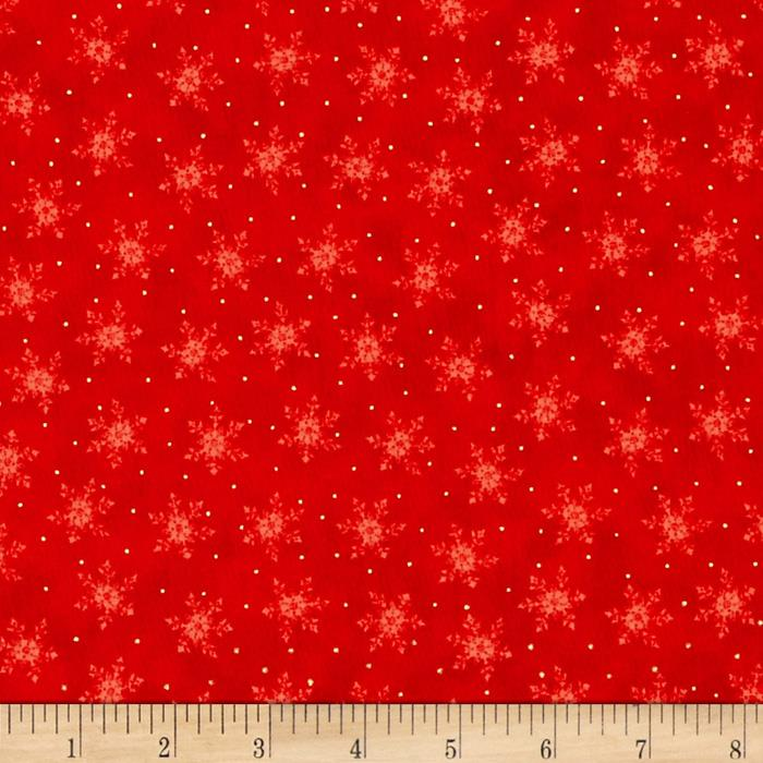 Visit From Santa Metallic Snow Flake Red