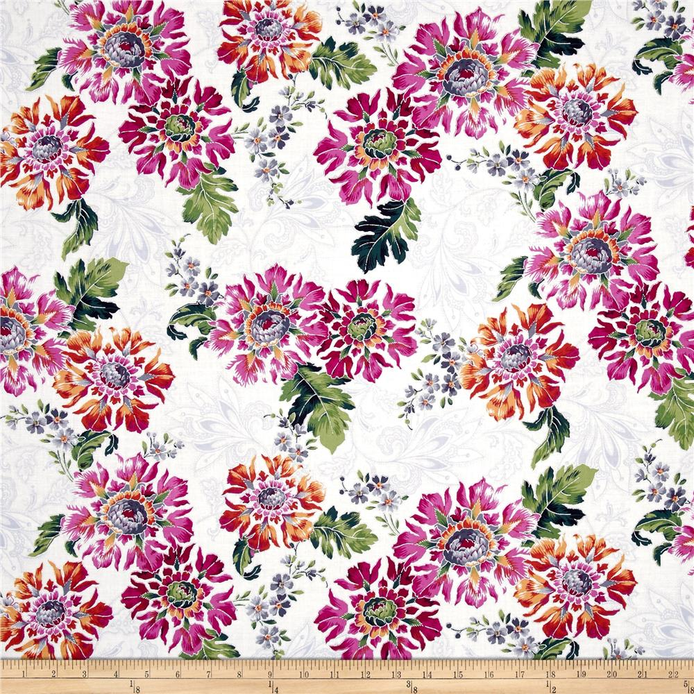 Jenny Jane Metallic Packed Floral Zinnia/Silver