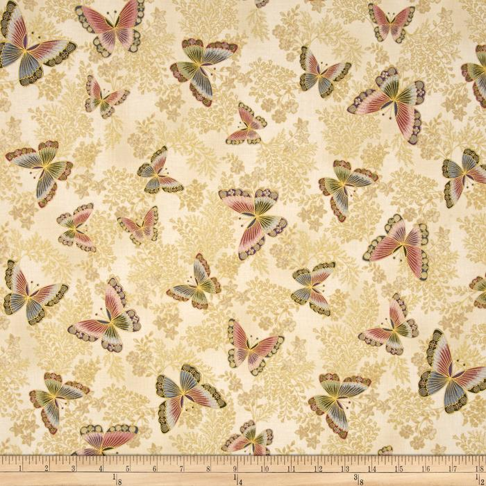 Kaufman Tuscan Wildflower Metallic Butterflies Blossom