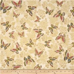 Robert Kaufman Tuscan Wildflower Metallic Butterflies Blossom