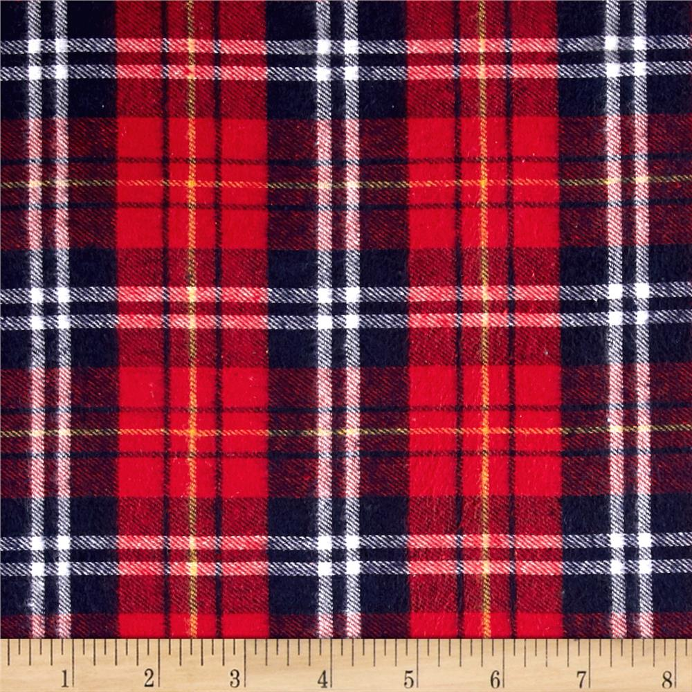 Yarn Dyed Flannel Plaid Navy/White/Yellow/Red Fabric