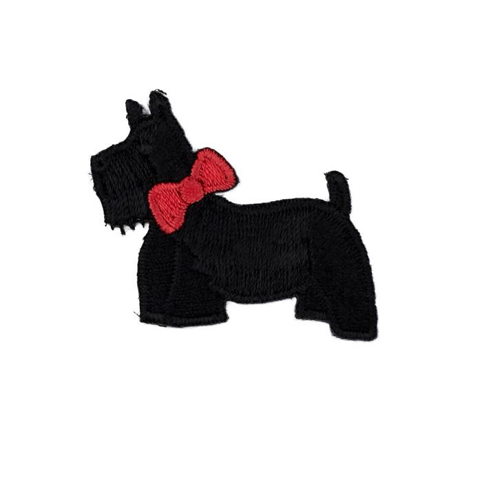 Boutique Applique Scotty Dog with Bow Black