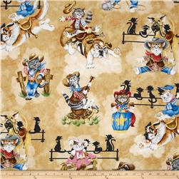 Rodeo Cats Cream Fabric