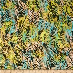 Indian Batik Fir Sprigs Metallic Green