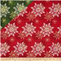 Season's Greetings Double Faced Quilted Snowflakes Red/Green