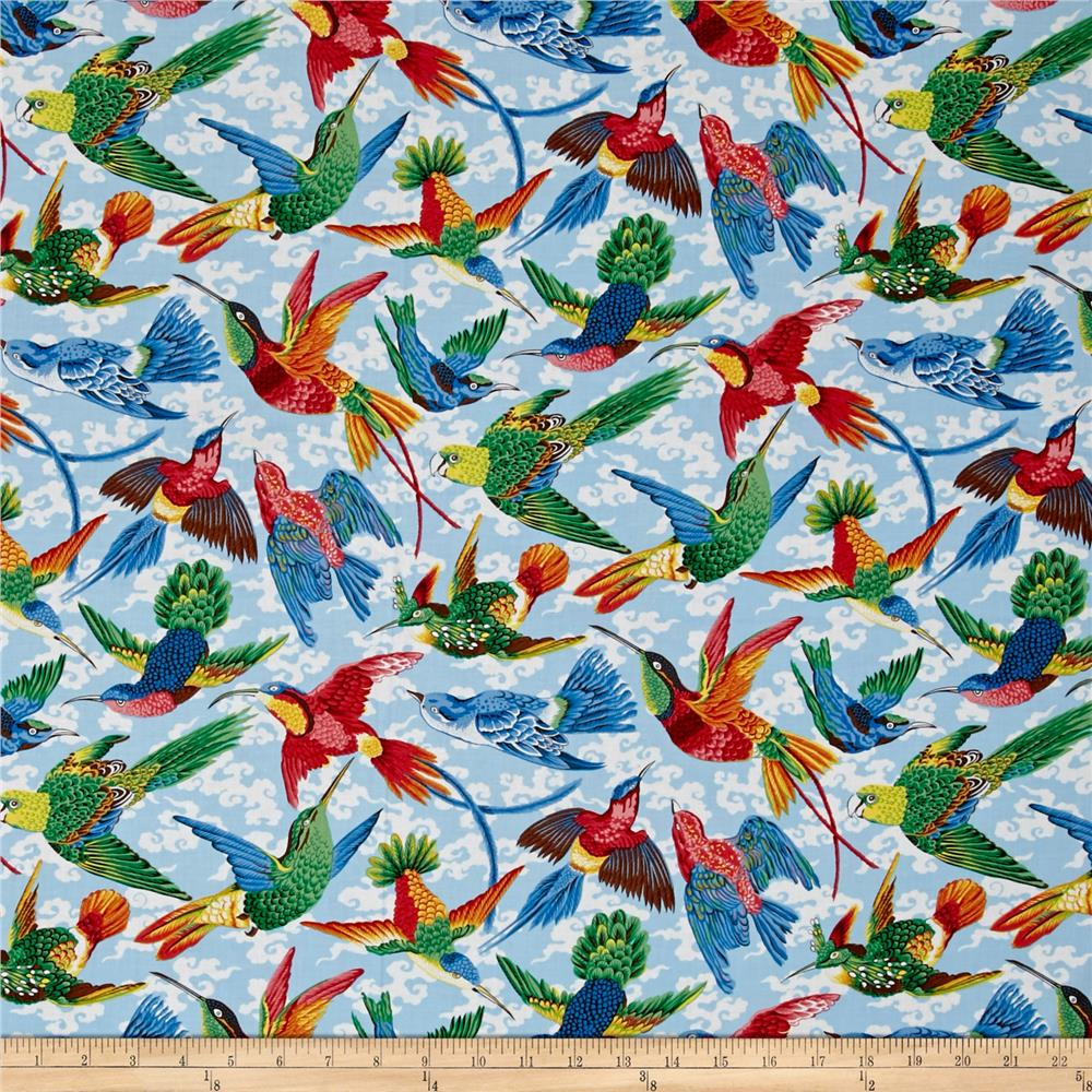Natural world tropical birds natural discount designer for Fabric world