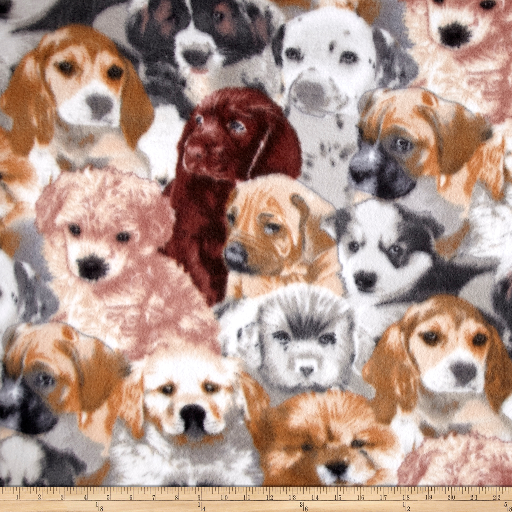 Winter Fleece Puppies Fabric