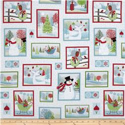 Holiday Cheer Patchwork White/Grey Fabric
