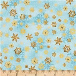 Merry Birds & Snow Globes Snowflake Metallic Sky