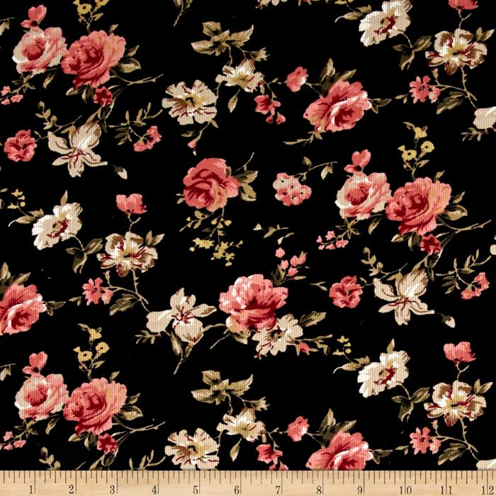 21 Wale Printed Corduroy Romantic Floral Discount