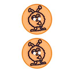 Novelty Button 1'' Moon Walker Orange