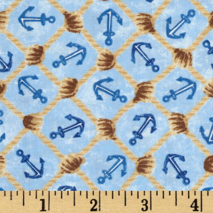 Harbor Point Anchors Netting Tan Blue