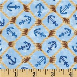 Harbor Point Anchors Netting Tan/Blue