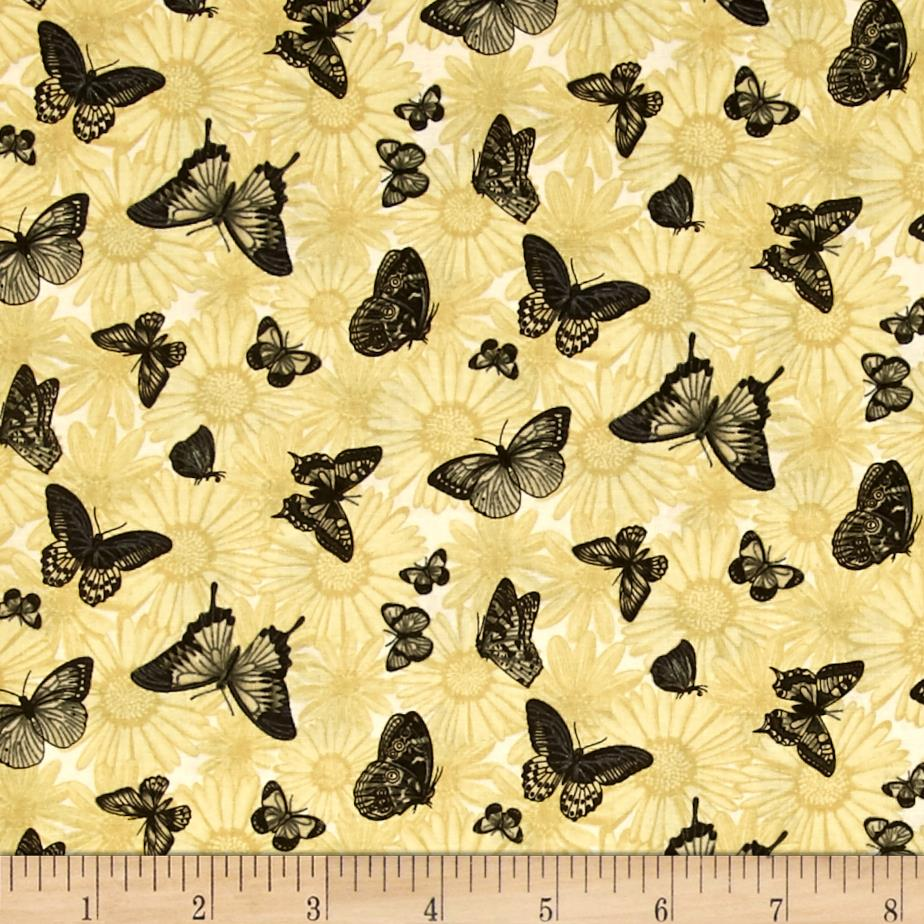 Sew vintage garden butterfly garden vanilla discount for Cheap sewing fabric