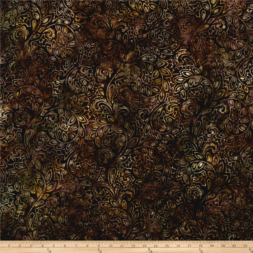 Kaufman Regal Batiks Geo Floral Smoke