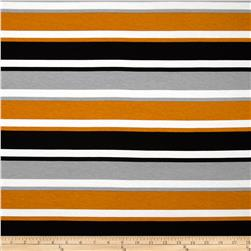 Dakota Jersey Knit Stripes Grey/Orange Fabric